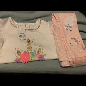Unicorn 2pc outfit Carter's, NWT, spring 2019 pink